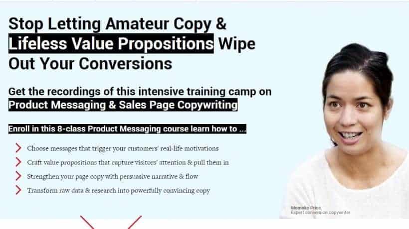 Product Messaging & Sales Page Copywriting by Conversionxl and Momoko Price