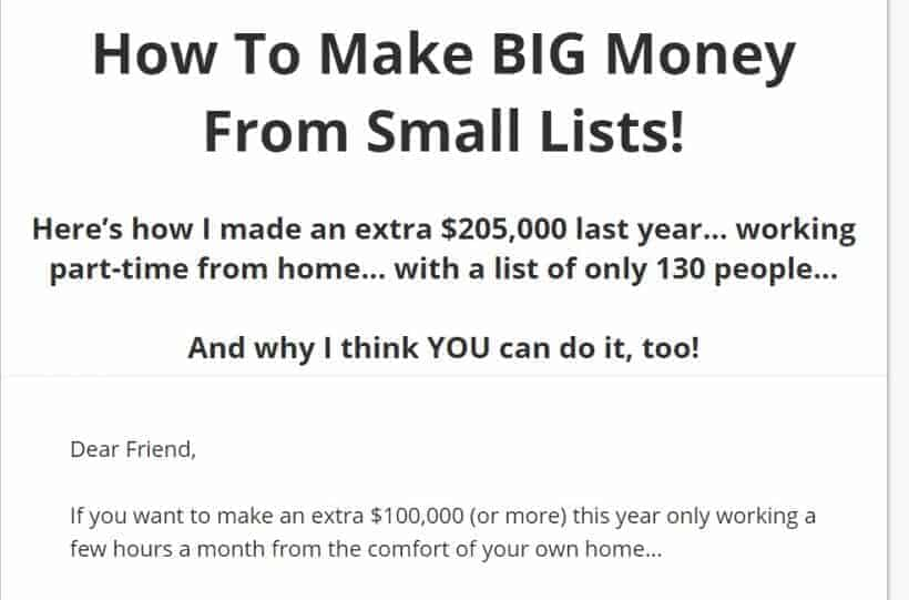 How To Make Big Money From Small Lists