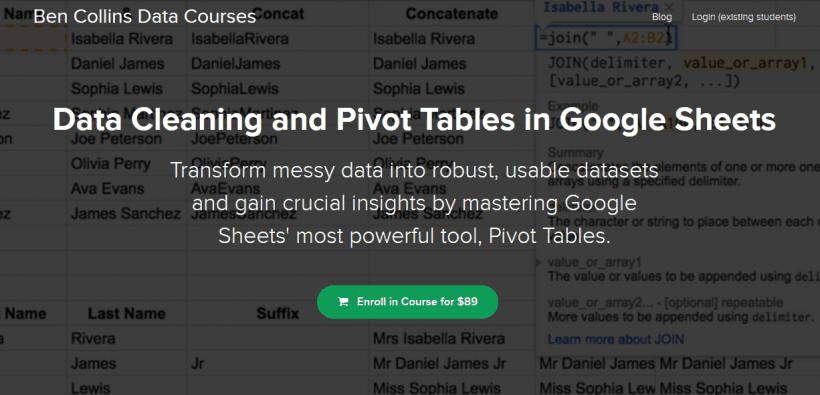 Data Cleaning and Pivot Tables in Google Sheets by Ben Collins