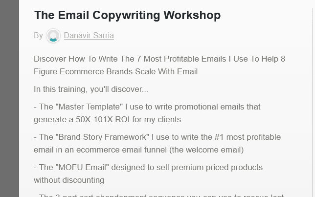 The Email Copywriting Workshop By Danavir Sarria